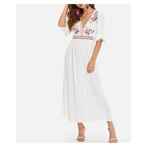 White V Neck Floral Embroidered Maxi Dress